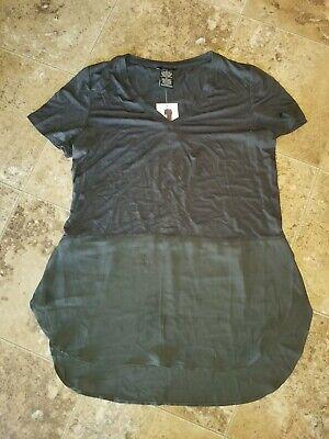 Nwt Womens Premise Top Short Sleeve Shirt Pirate Black Medium M