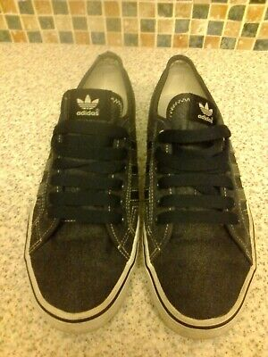 ADIDAS Nizza Trainers BLUE Canvas Pumps, Sneakers, 3 Stripe. Size 8