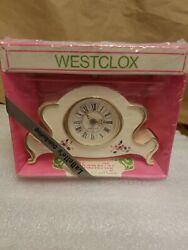 Vintage key wound Westclox Alarm Clock chantilly 12120 White floral New box