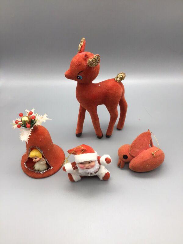 Vintage Lot of Red Flocked Christmas Ornaments - Bell - Bird - Santa - Reindeer