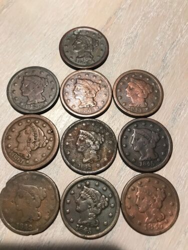 BRAIDED HAIR LARGE CENT - VERY NICE CONDITION $17.78 EACH