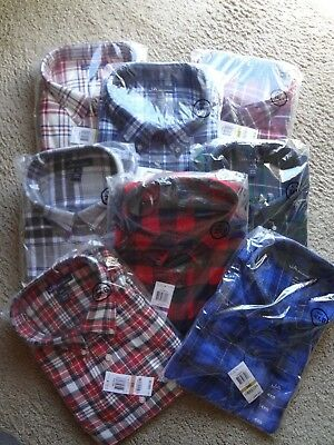 NWT Big and Tall Mens Flannel Long Sleeve Shirts. 2XB,3XB,4XB, 2XLT,3XLT,4XLT Big Tall Flannel Shirts