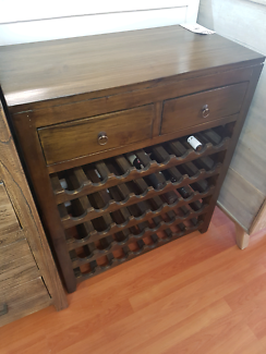 Solid timber dark stain 40 bottle wine rack on sale