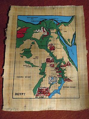 Ägypten Papyrus-Bild ca.32x42cm - Ägypten-Landkarte auf Papyrus