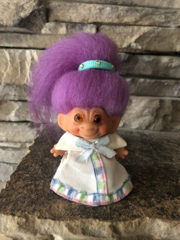 "Vintage Troll Doll By Dam! 2 1/2"" Lavender Fur Hair Amber Glass Eyes! C64!"