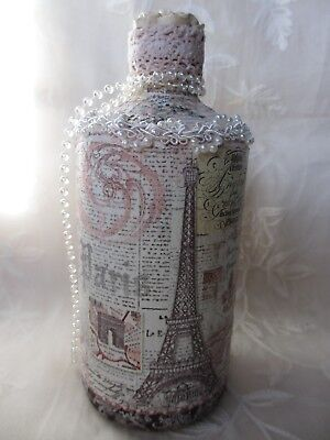 Decorative Glass Bottle Hand Painted & Decoupaged Vintage French Style