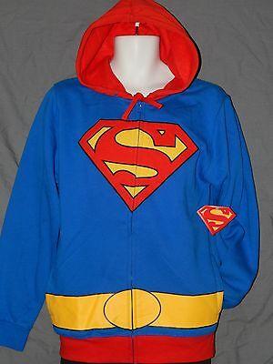 NEW Superman Zip Up Hoodie Sweatshirt Costume Jacket Shirt Men's Size S M L 2XL](Superman Zip Up Hoodie)