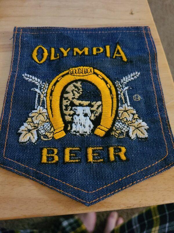 Large Vtg Olympia Beer Denim PATCH