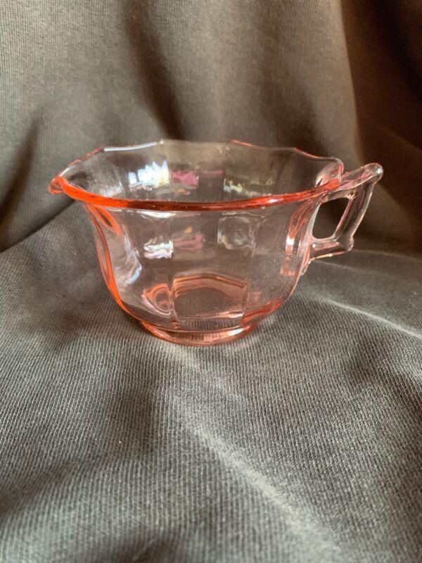 CAMBRIDGE PINK GLASS DECAGON PATTERN CREAMER