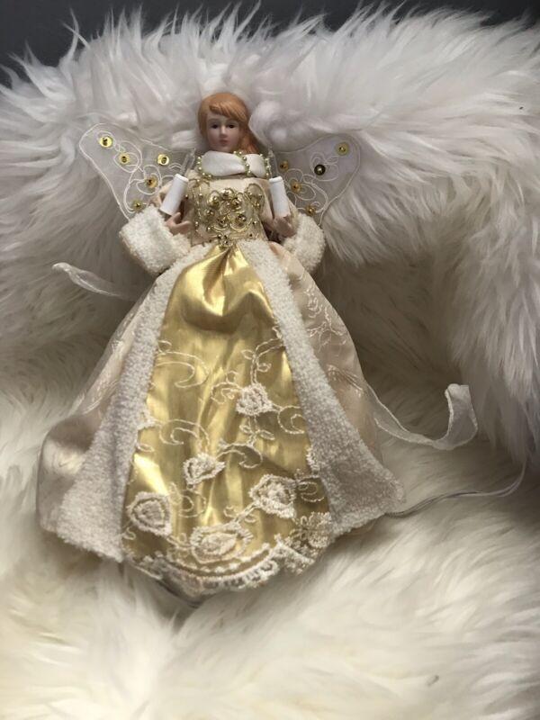 "Vintage Victorian Blinking lights Gold Gown Porcelain  10"" Christmas Tree Topper"