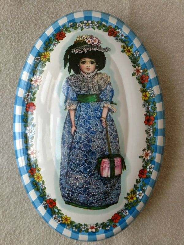 Vintage Daher Floral Girl Oval Tin Made in England
