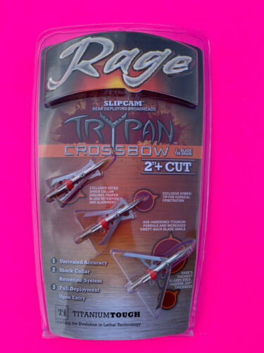 """Rage Crossbow Trypan Broadheads 100 Grain 2"""" Cut Slipcam Rear Deploy"""