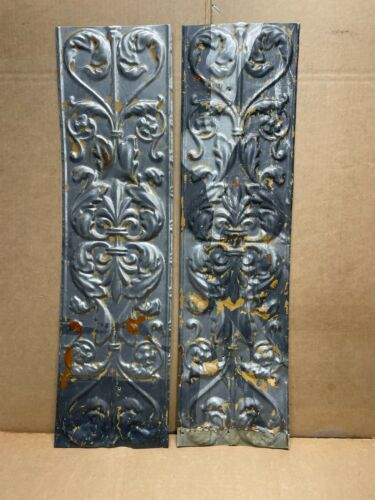 """2 pc 24"""" x 6.5"""" Fancy Antique Ceiling Tin Vintage Reclaimed Salvage Art Craft"""
