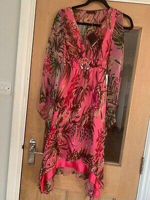 Pink print kaftan Tunic Holiday Dress Beach  ABBA costume UK 10 cruise summer