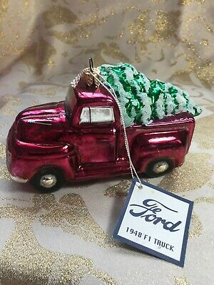 KURT ADLER POLONAISE FORD 1948 F1 RED TRUCK WITH CHRISTMAS TREE ORNAMENT