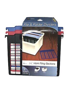 File And Folder Divider Plastic 3 Dividers Black Red Blue Storage Box Size