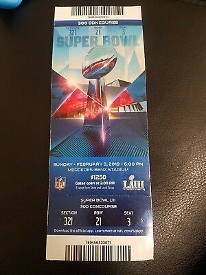 TICKET STUB SUPER BOWL LIII 53 New England Patriots vs Los Angeles Rams 2/3/2019