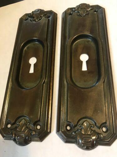 2 ANTIQUE ART CRAFT DECO VICTORIAN BRASS PLATE STEEL POCKET BARN DOOR PULL PLATE