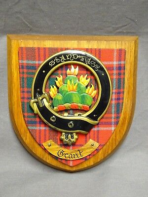Vintage Oak Wall Plaque ~ Scottish Clan GRANT ~ Tartan Shield Crest / Arms
