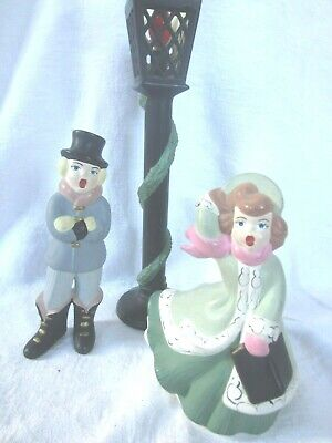 Christmas Carolers and Lighted Lamp Post hand painted vintage