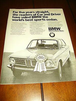 1972 BMW SPORTS SEDAN ***ORIGINAL PRINT AD***