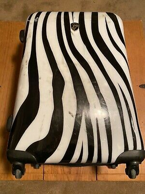 "HEYS 25"" Black White Zebra Hardside Spinner Suitcase Luggage Clean Animal"
