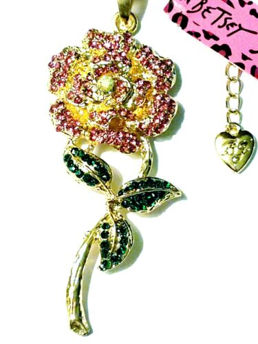 Betsey Johnson Rhinestone Pink Rose Crystal Authentic Unique Flower Necklace New - $10.99