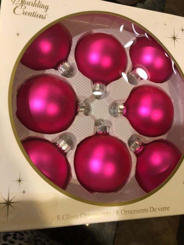 "Christmas Ornaments Glass Ball Box of 8 SPARKLING CREATIONS Hot Pink 3""Tall"