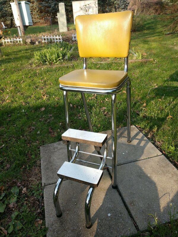 VINTAGE! Craig Industries Step Stool Chair Mustard Yellow and Steel 1950s Vinyl