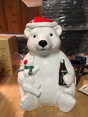 VINTAGE CHRISTMAS COCA COLA POLAR BEAR COOKIE JAR