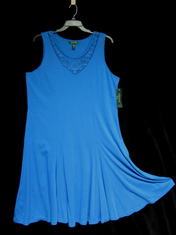 NWT Ralph Lauren Woman Dress 2X Aegean Blue Cotton Swirl Skirt Lace Panel NEW