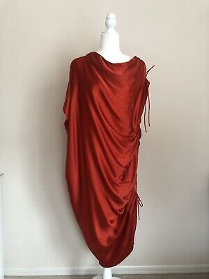 Lanvin Draped Orange Red Silk Dress Made In France FR 38 Small 2009 Collection