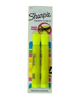Sharpie Fluorescent Yellow Highlighters W Smear Guard Chisel Tip 2 Count
