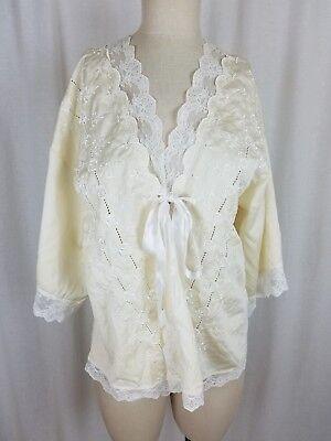 Vintage Victoria's Secret Lace Satin Bed jacket Sash Short Robe Womens S USA 70s