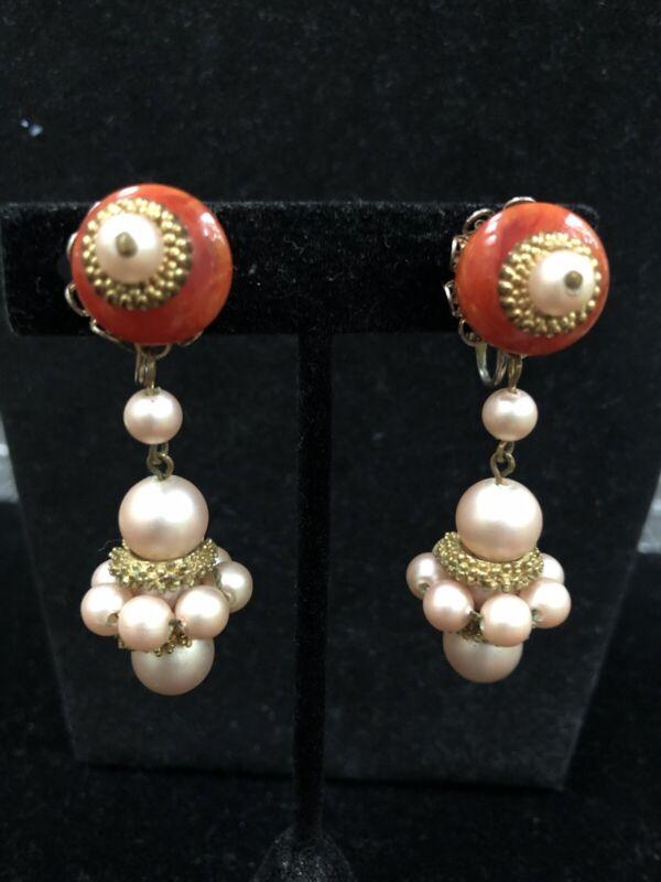 Vintage Haskell Style Bakelite Faux Pearl Dangle Clip On Earrings