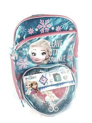 Disney Frozen Elsa Backpack 5 Piece Set Lunch Kit Water Bottle Case Book Bag New