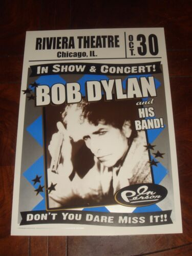 Rare BOB DYLAN In Concert RIVIERA THEATRE CHICAGO 2010 CONCERT POSTER silver ink