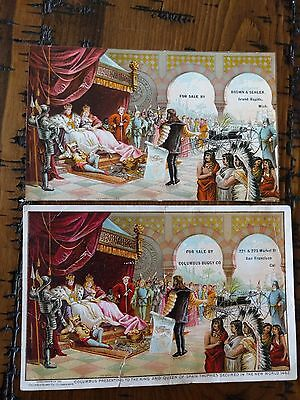 """#ORIGINAL 1800's Victorian Lot of 2 Trade Card Columbian Expo Chicago 6 x 3"""""""