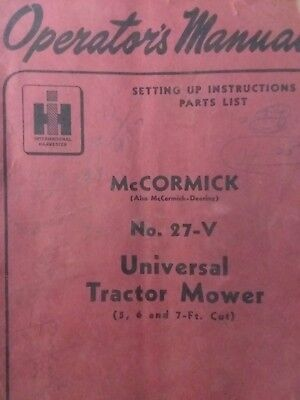 Mccormick International 27-v 3-point Sickle Mower Owner Service Parts Manual