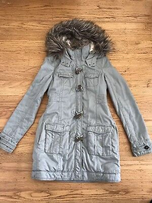 Abercrombie RUEHL No.925 Khaki green Faux Fur Hooded Toggle Long Coat jacket S