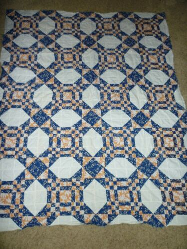 VINTAGE QUILT TOP INDIGO CHEDDAR AND PINK 56 X 71