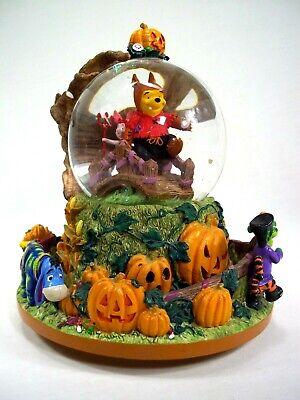 Rare Disney Halloween Winnie The Pooh Snowglobe Holiday Tigger Eeyore Piglet Roo