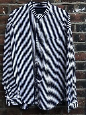 JUUN J Korean Brand Mens Striped Shirt Sz48 Cotton