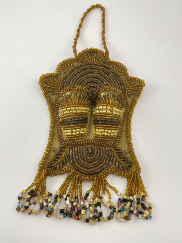 Antique Native American Iroquois Beaded Hanging Pocket MatchHolder A+ Beadwork!