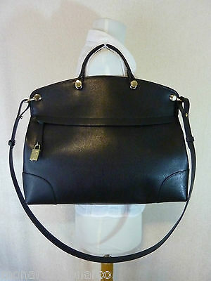 NWT FURLA Onyx Black/Gold Saffiano Leather Piper Messenger/Cross Body Bag $448