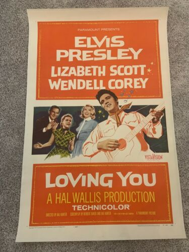 Elvis Presley Loving You Original One Sheet Movie Poster Linen Backed