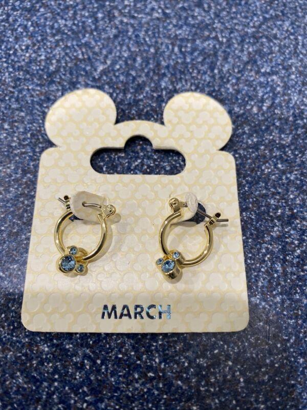 Sale! Disney Parks Mickey Birthstone Swarovski Crystal Gold Tone March Earrings