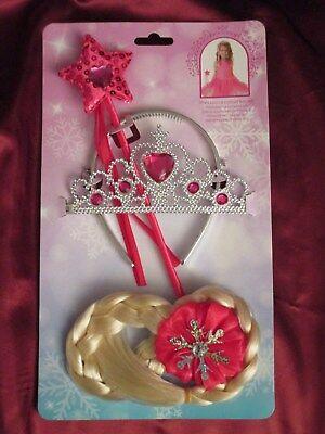 Prinzessin Zubehör-Set Diadem Zauberstab Haarzopf Blond Karneval Fasching Party