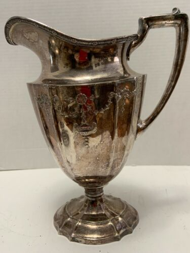"""1847 Rogers Silverplate PITCHER Pedestal Oval ADAM Style SWAG URNS 10.5"""" Vintage"""