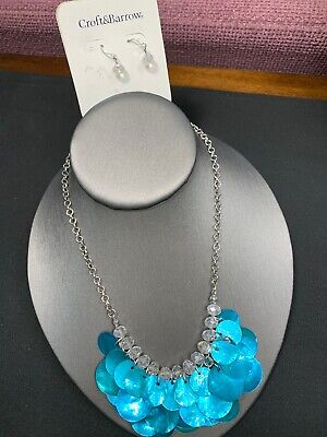 Vintage Signed Turquoise Aurora Borealis Crystal mother of pearl Necklace Set